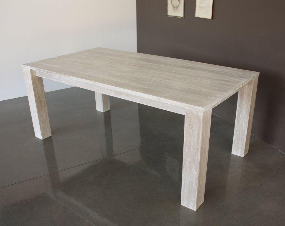 Tavolo Minimal shabby chic in legno teak massello bianco decapé