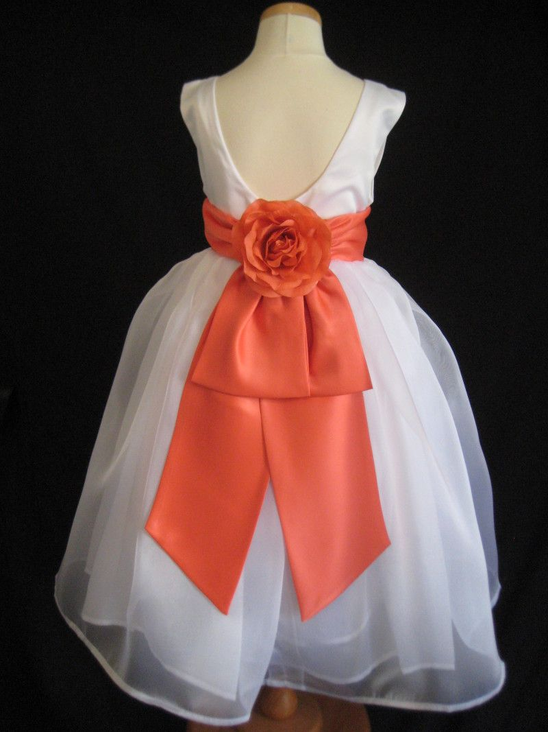 PALM BEACH CORAL V BACK ROSE BOW FLOWER GIRL DRESS 2t 3t 4t 5 6 7 8 ...