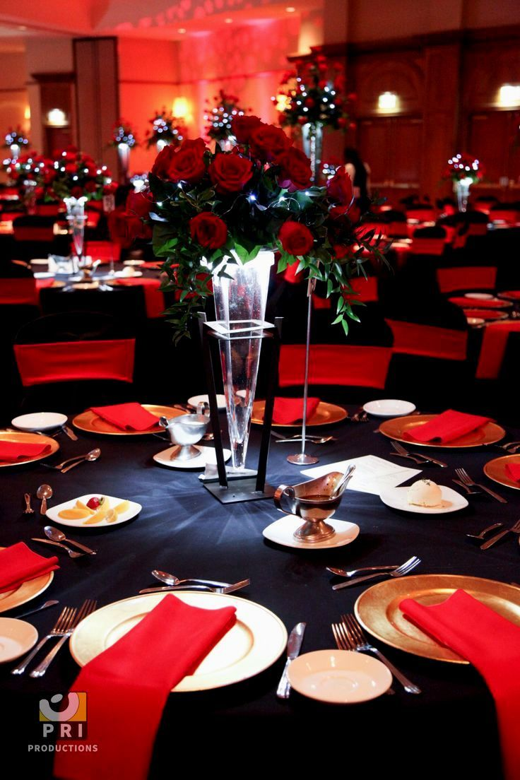 Black and Red Table Decorations Gold wedding decorations