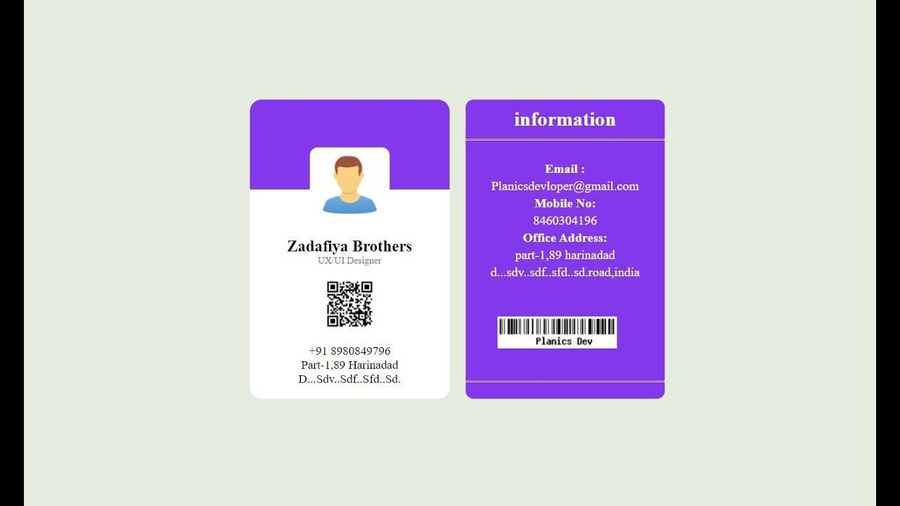 Student Id Or Employee Id Card Using Html And Css 2020 In 2021 Employee Id Card Student Cards