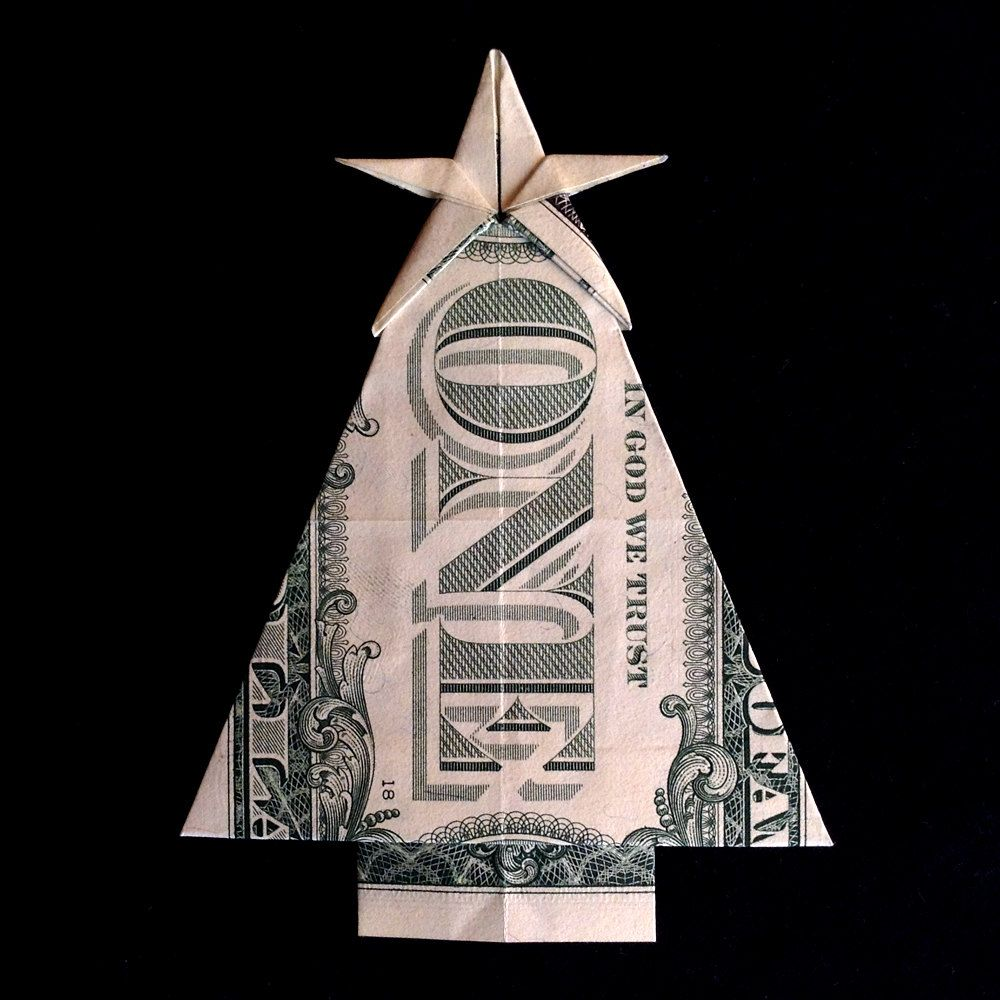 Money Origami Christmas Tree Real 1 Dollar Bill Gift Ideas By Trinket2shop On Etsy Money Origami Christmas Tree With Star Xmas Gift Made Out Of Christmas