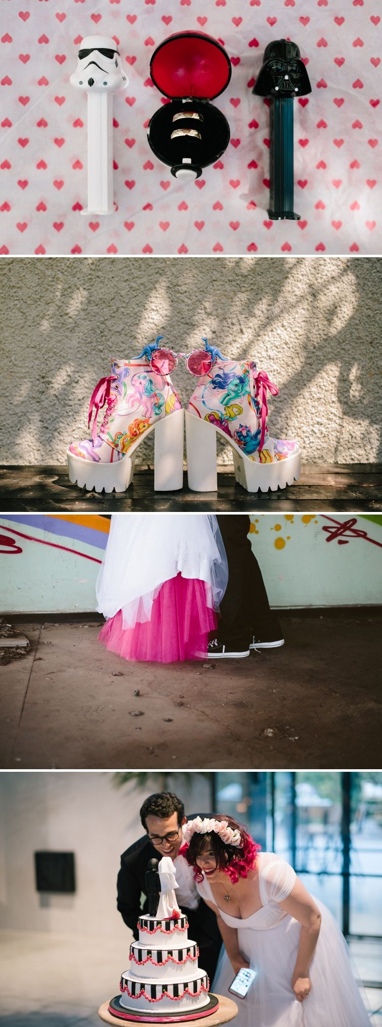 Star Wars and Pokemon / A Pink 'geeky-fairytale' Jewish wedding / East-TLV, Tel Aviv, Israel / Photography by Noa Magger / http://www.smashingtheglass.com/2016/06/28/pink-geeky-fairytale-jewish-wedding-east-tlv-tel-aviv-israel/