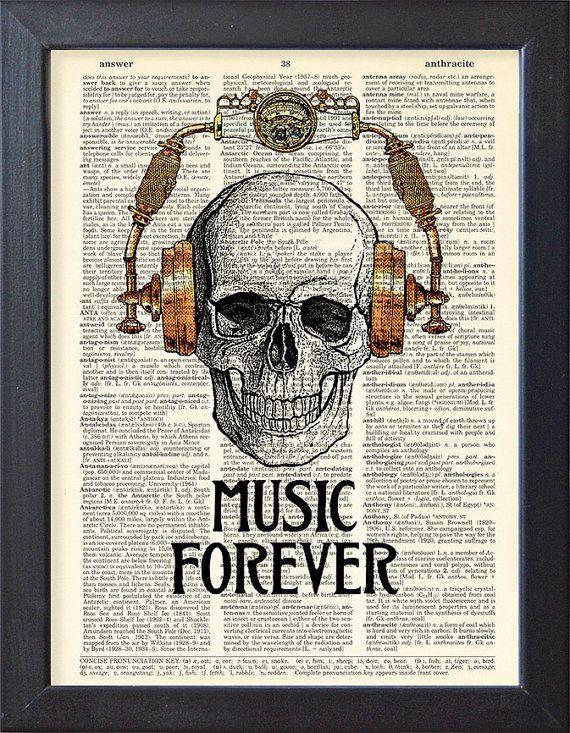 DJ skull with headphones art dictionary page art print vintage antique N20