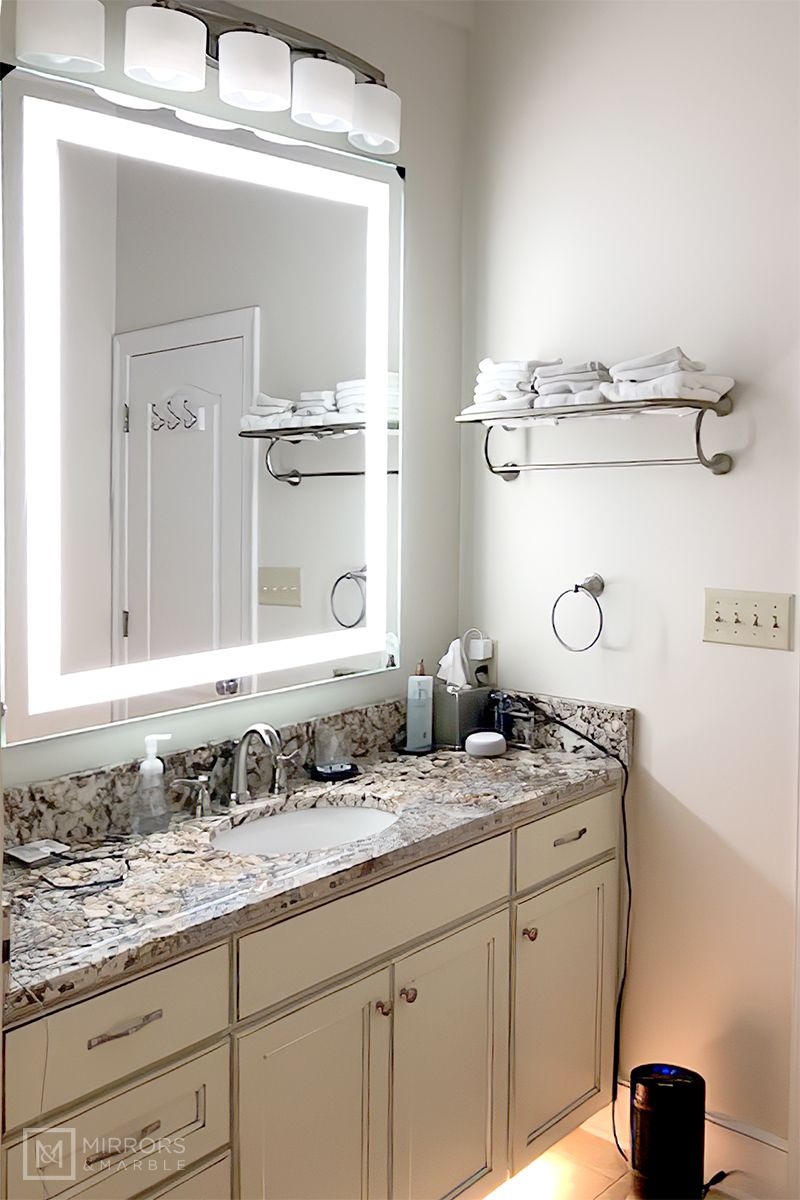 Front Lighted Led Bathroom Vanity Mirror Wide Tall Rectangular Wall Mounted