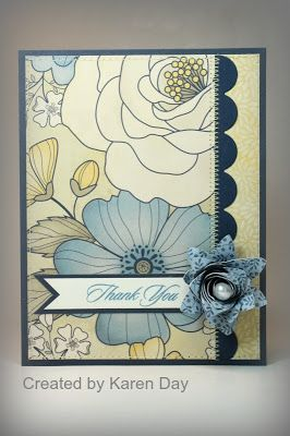 love this layout...love the contrast of the border...of course use a flatter accent object...great to use those large scale patterned papers!