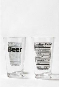 Beer nutrition pint glass.