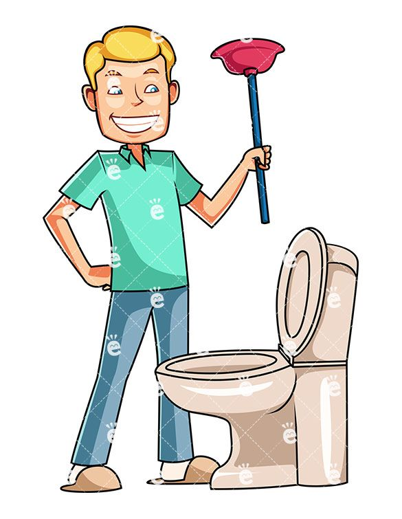 A Man Looking Down At Toilet Holding Plunger Bathroom Blockage Blond Bowl Cartoon Caucasian Character Chore Chores Clean Cleaner Cleaning