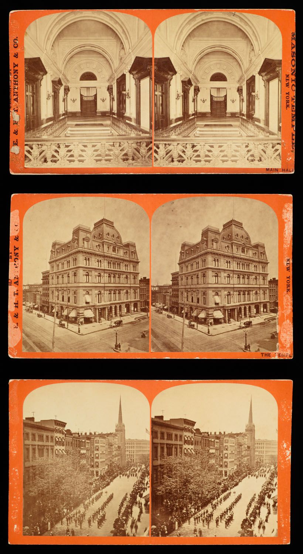Masonic Temple New York City . A closeup view (late