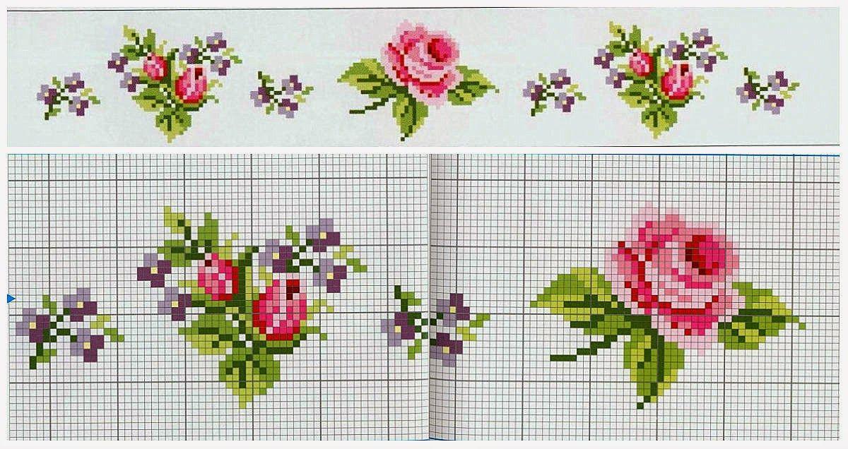 Вышивка цветов маленькие крестиком