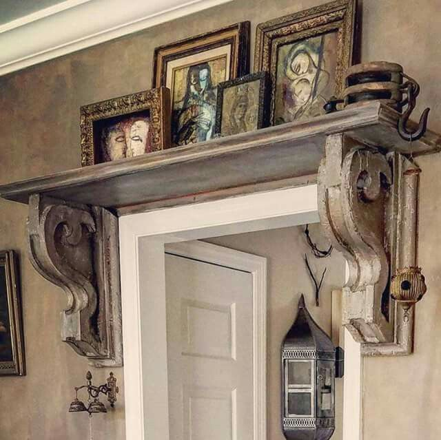 Love the look of  shelf and corbels above door also for home rh pinterest