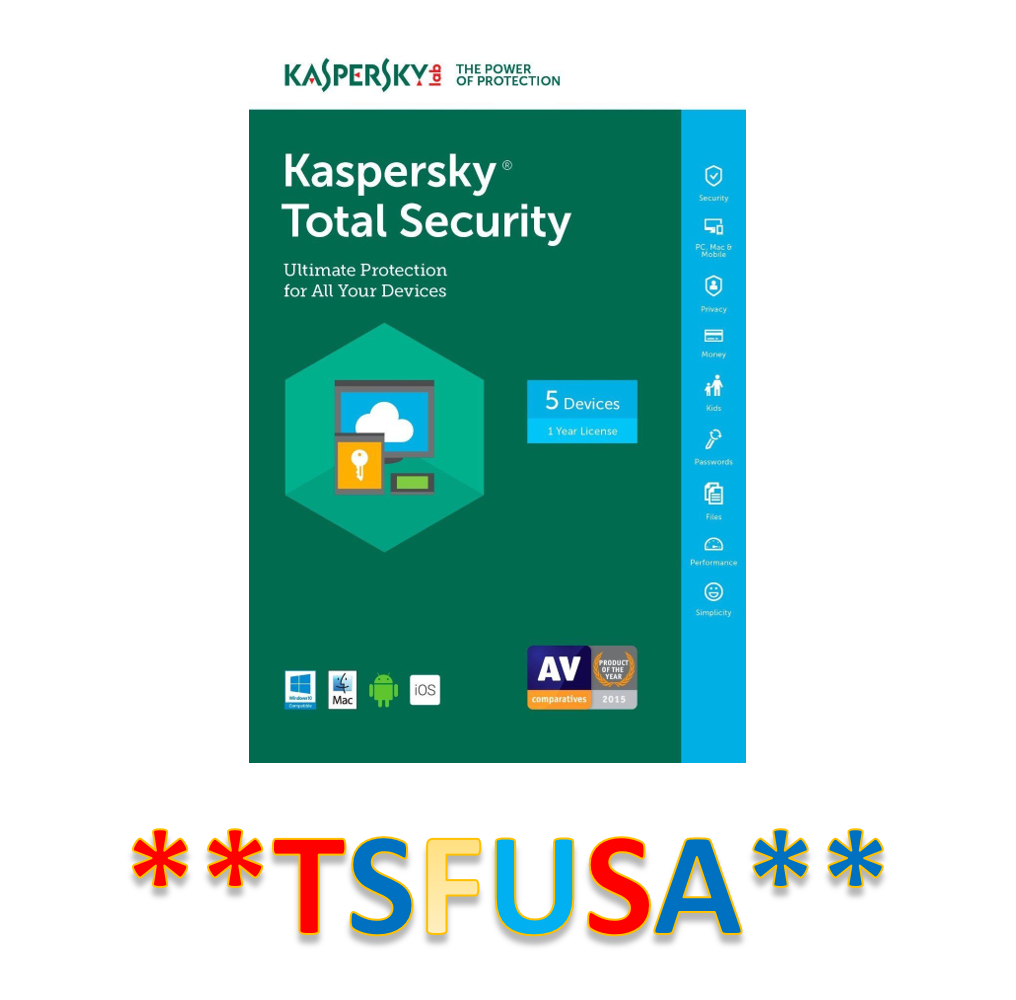 NEW Kaspersky Total Security 5 Devices PC MAC Android IOS 1