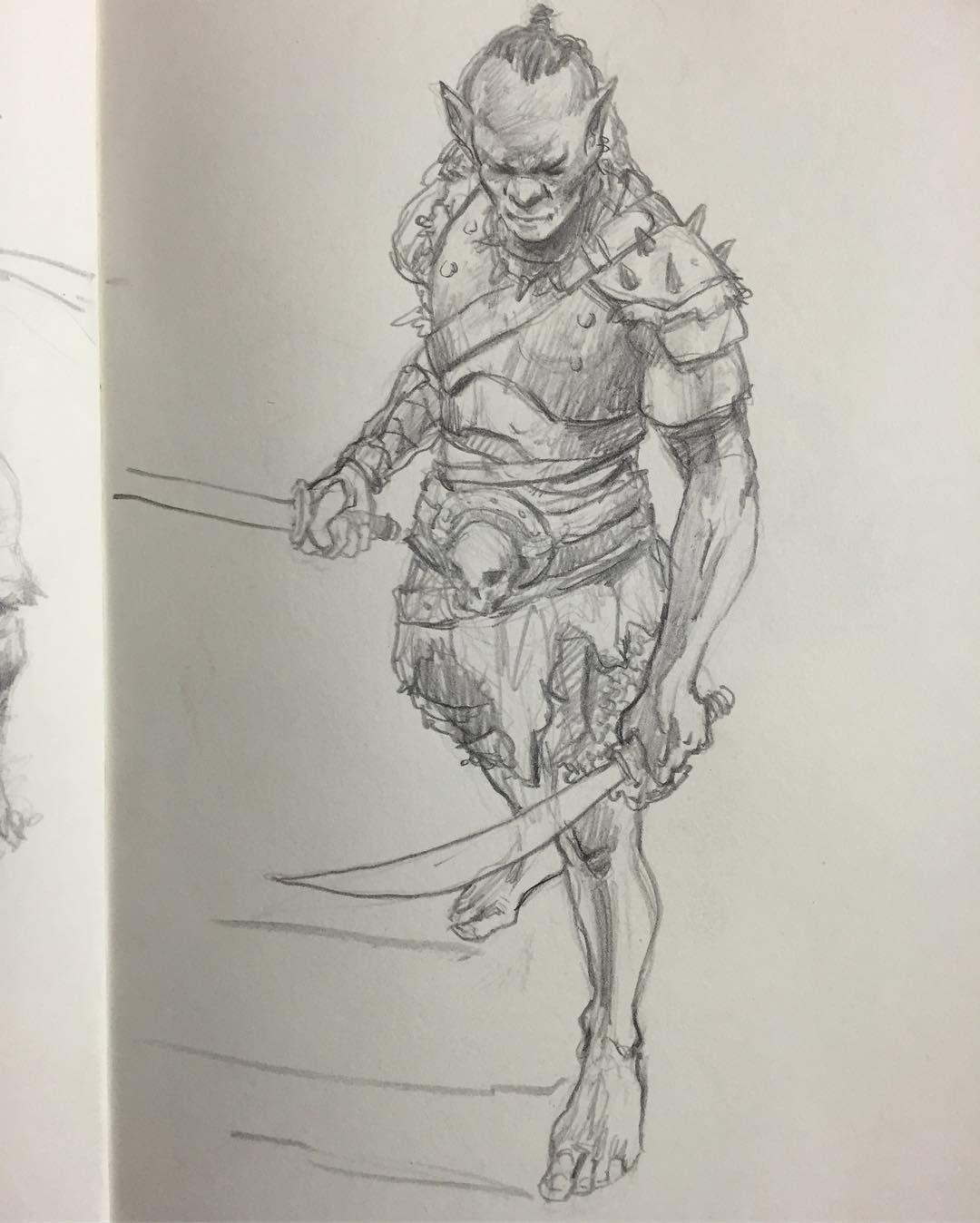 Orc for tonight's sketch. #pencil #pencildrawing # ...