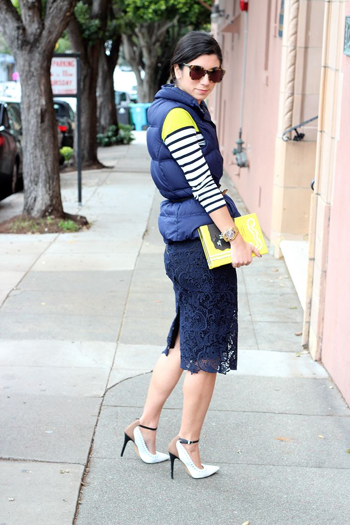 Shirt: J. Crew (similar style here); Vest: c/o Google; Skirt: Zara (similar style here); Shoes: J.W. Anderson X Aldo; Clutch: Kate Spade (gift from the man friend!); Sunglasses: Karen Walker