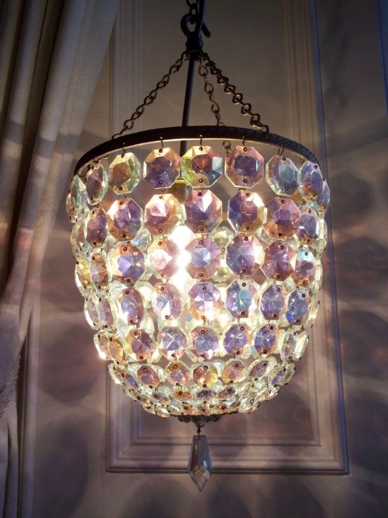 Vintage aurora borealis crystal basket chandelier chandeliers vintage aurora borealis crystal basket chandelier arubaitofo Image collections