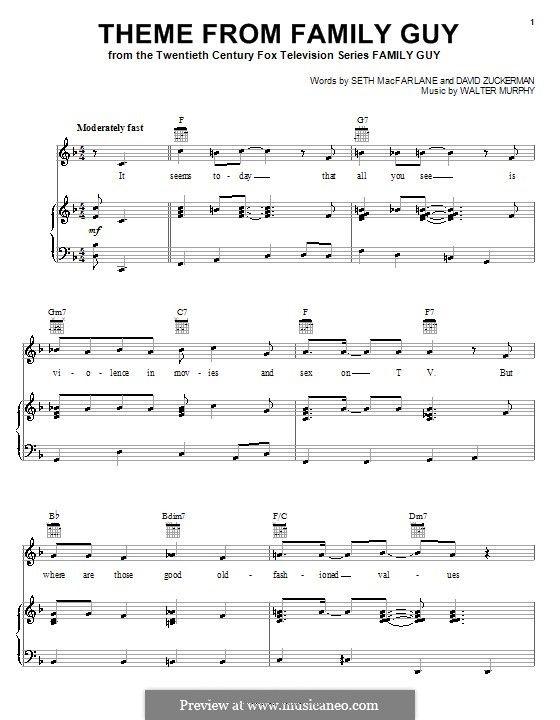 Theme From Family Guy Family Guy Piano Score Guys