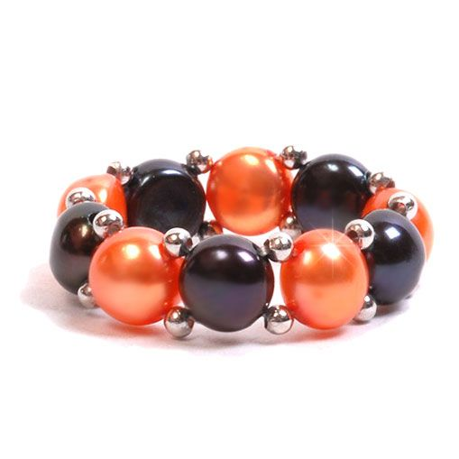 Engagement Rings Okc: Orange And Black Freshwater Pearl Stretch Ring
