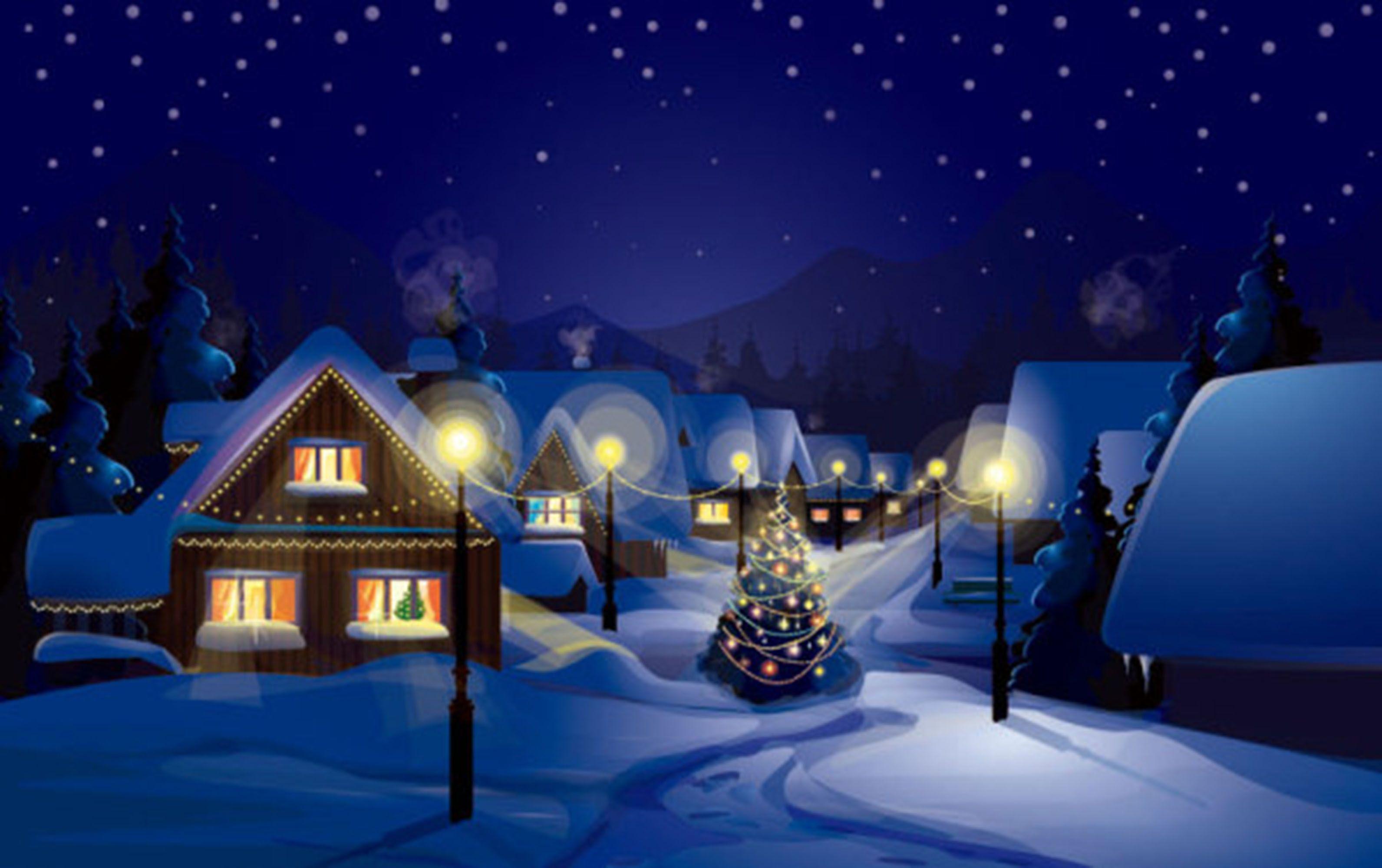 Foto Con La Neve Di Natale.Di Notte La Neve L Albero Di Natale La Capanna Le Luci Anime Caldo Romantico Sogno Blu Immagini Di Natale Immagini Di Sfondo Natale Moderno