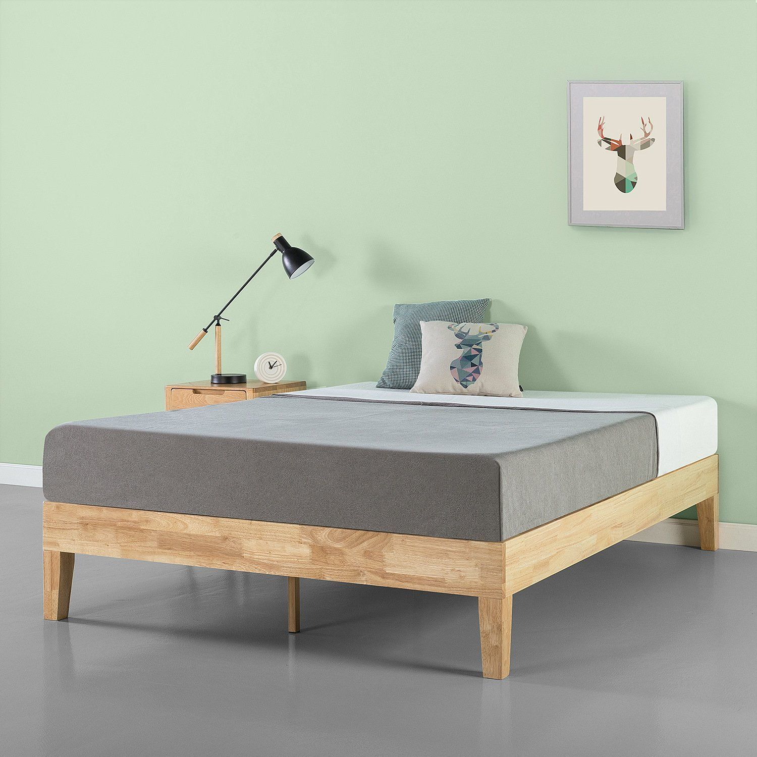 189 Amazon Queen Bed Frame No Headboard Solid Wood Platform