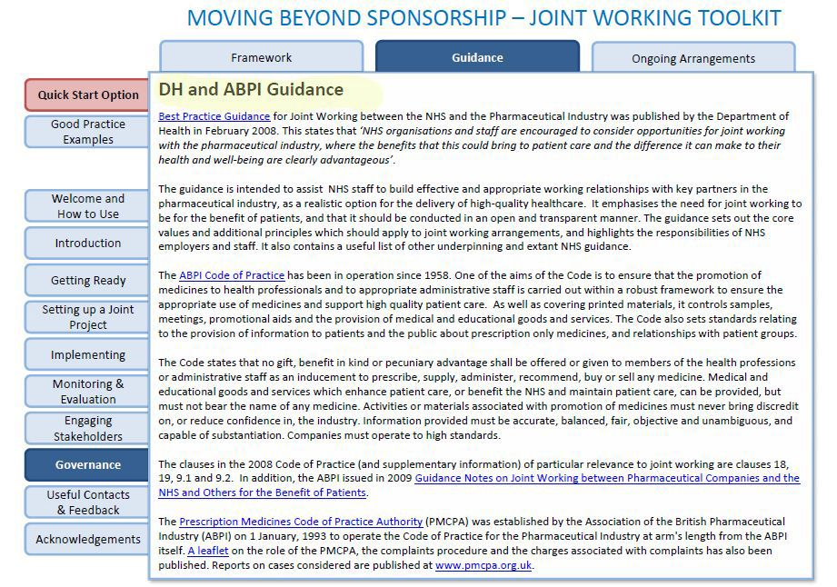 MOVING BEYOND SPONSORSHIP JOINT WORKING BETWEEN THE NHS