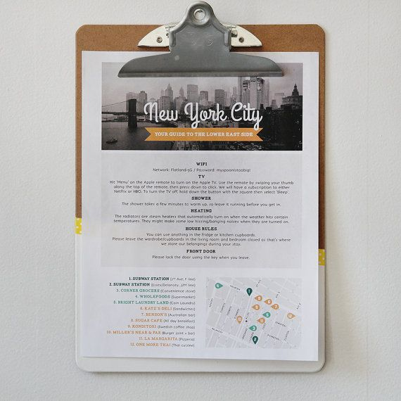 AirBnB Host Welcome Sheet DIY printable by