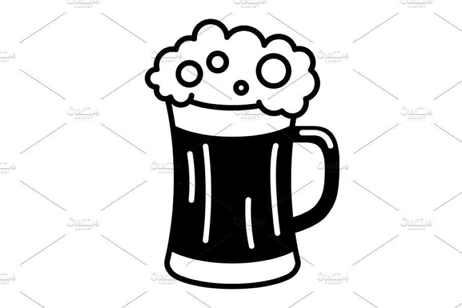 Vector Black Beer Icon Beer Icon Icon Set Vector Beer Vector