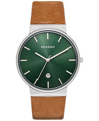 Skagen Men's Ancher Light Brown Leather Strap Watch 40mm SKW6183 - Watches - Jewelry & Watches - Macy's
