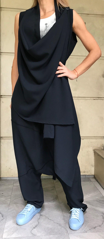 2104f81a87960 Off Shoulder Vest   Harem Pants   Women Set   Loose Pants   Open Back Vest