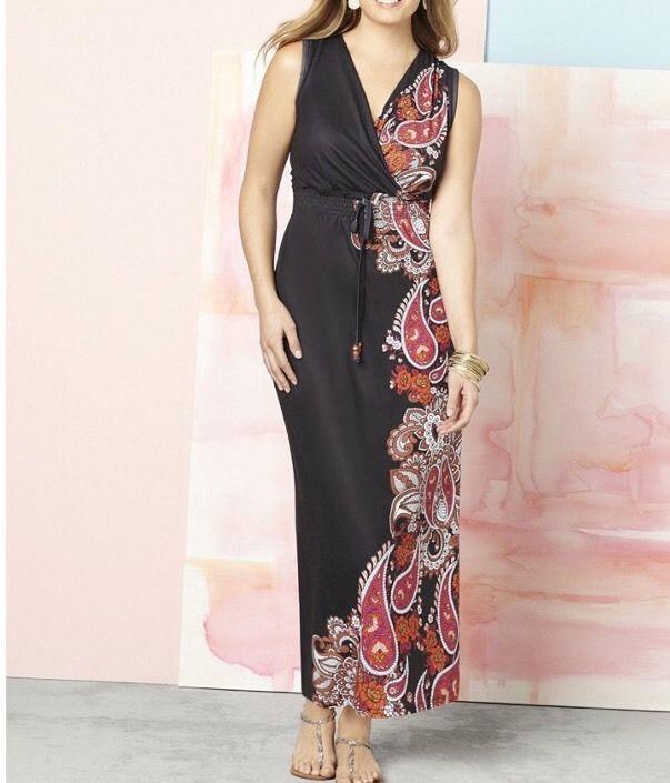 Catherines Contrast Study Maxi Dress Plus Size 1x 1820w