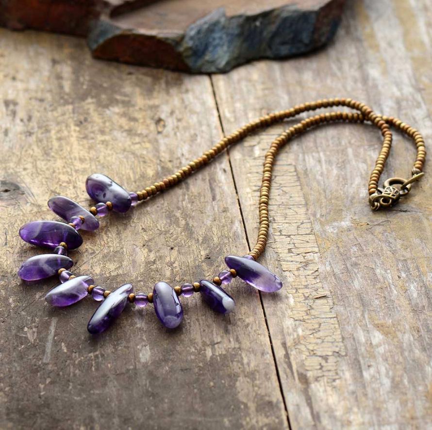 Natural Gemstone Amethyst Beaded Seed Beads Purple Rough