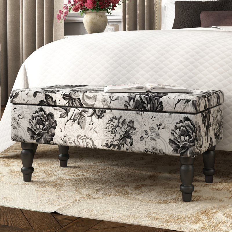 Brilliant Floral Storage Ottoman Rectangular Grey Bench Wood Bedroom Gmtry Best Dining Table And Chair Ideas Images Gmtryco