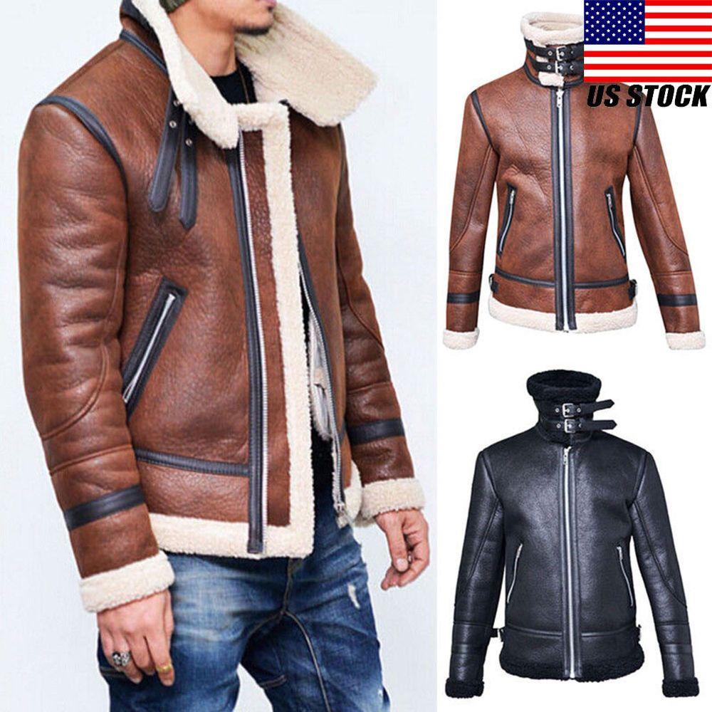 Winter Men's Warm Jacket Leather Coat Fur Parka Fleece