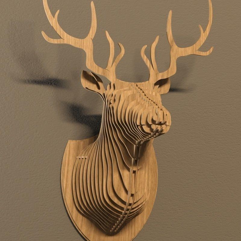 Deer Head Trophy Plan Vector File For Cnc 3bee Studio