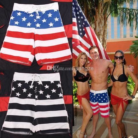 Star-Spangled Flag Beach Swim Shorts With Protective Net Casual Surf – teeteecee - fashion in style