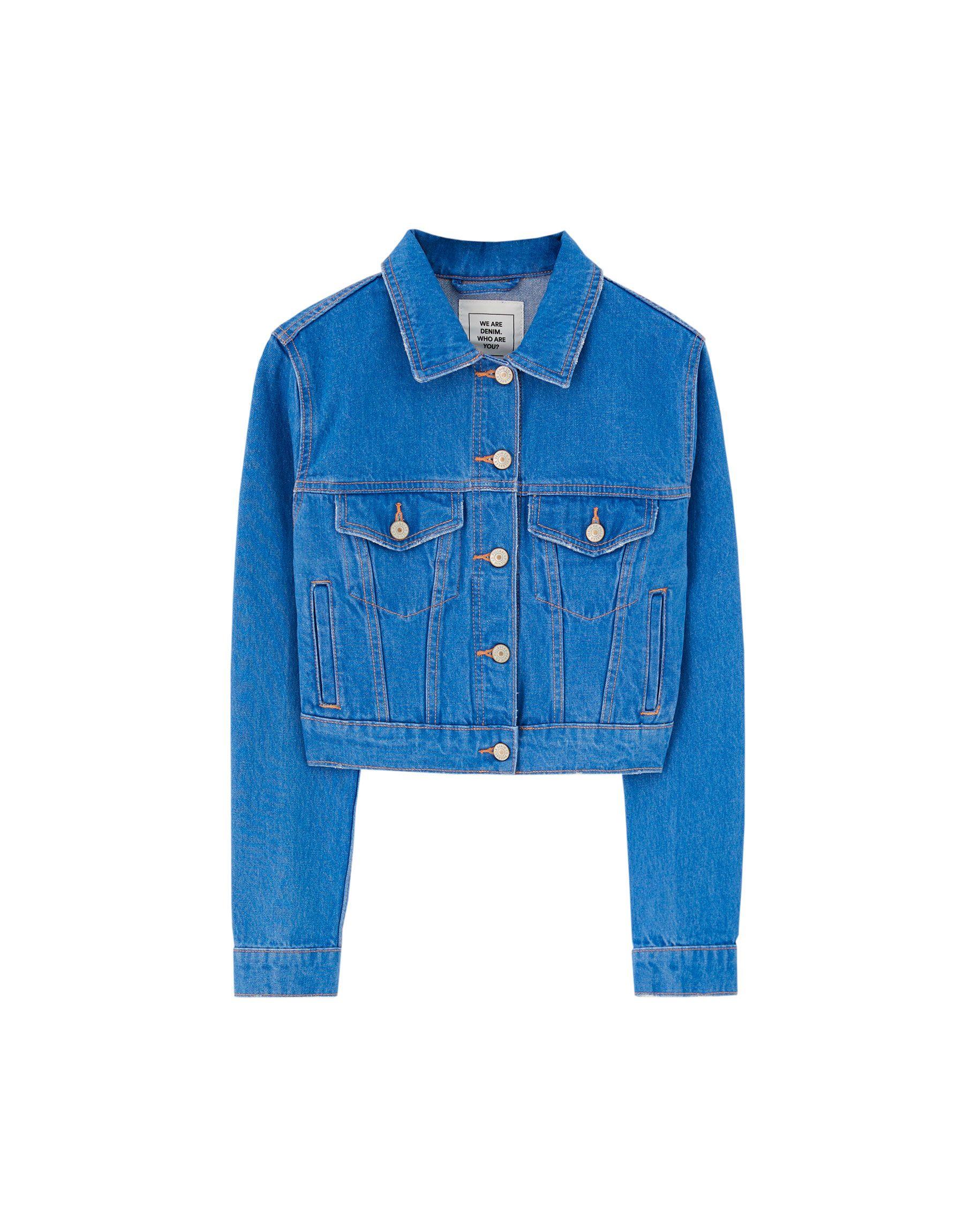 fina artesanía los más valorados moda más deseable Cazadora vaquera cropped color | Products in 2019 | Jackets ...