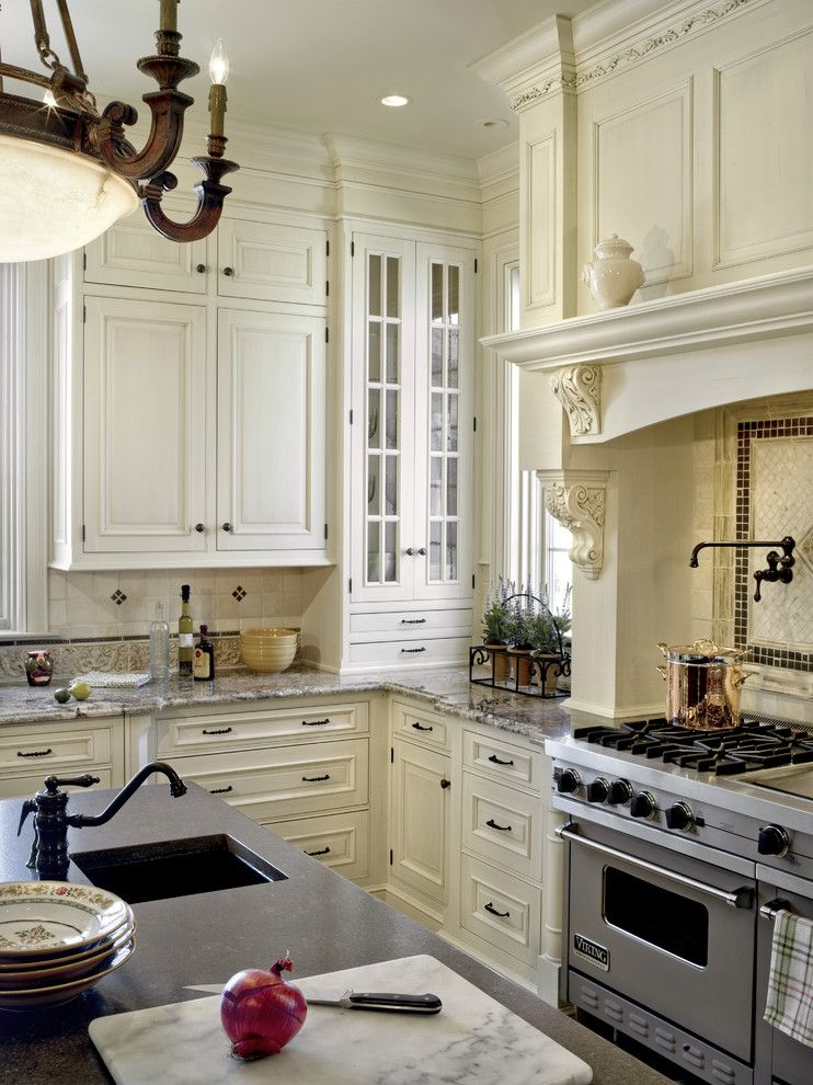 Traditional Kitchen With Glass Door Corner Cabinet In White White