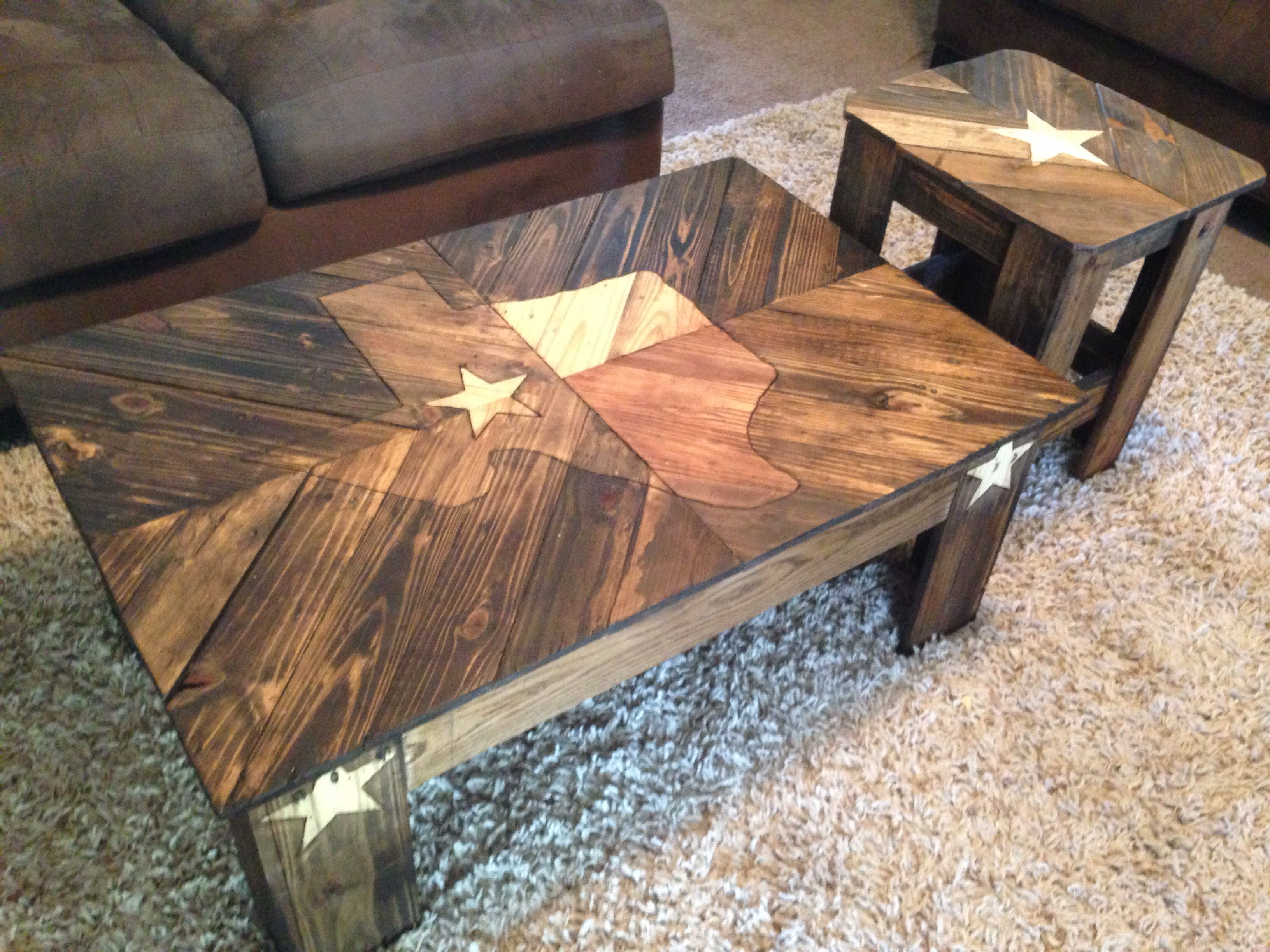 Texas coffee table made from pallet wood design burned in