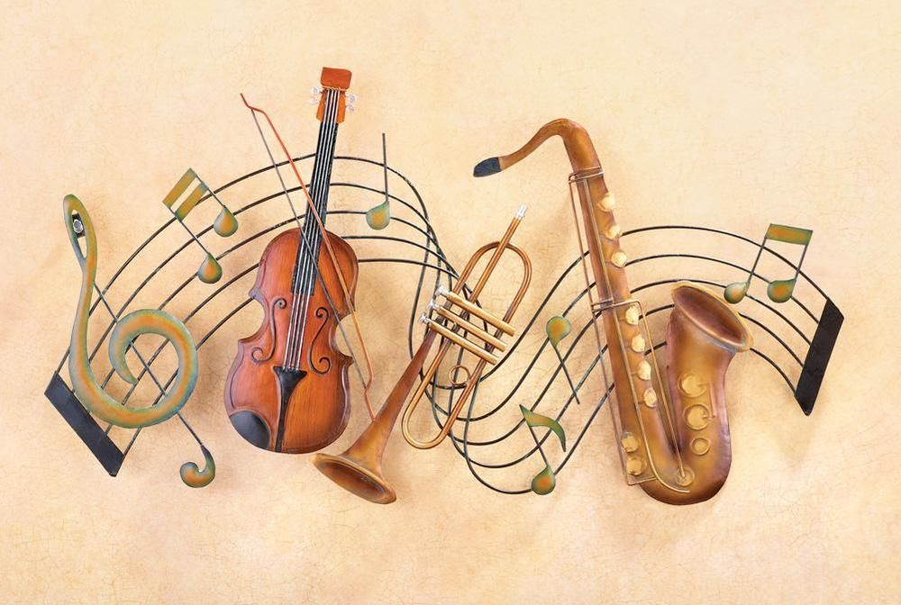Twisted Musical Staff Metal Wall Decor w/ Violin Sax & Trumpet ...