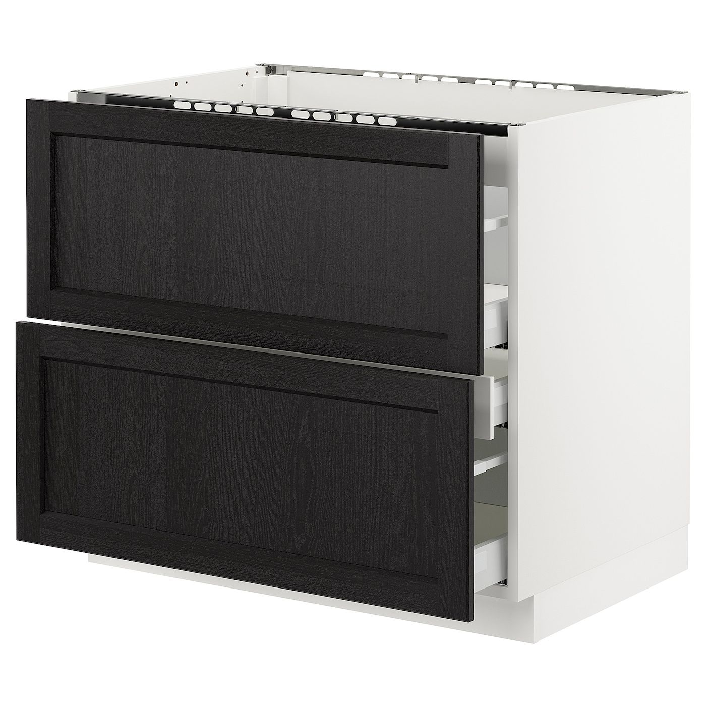 Sektion Base Cabinet F Cooktop W 3 Drawers White Maximera Lerhyttan Black Stained 36x24x30 In 2020 Base Cabinets Drawers Ikea