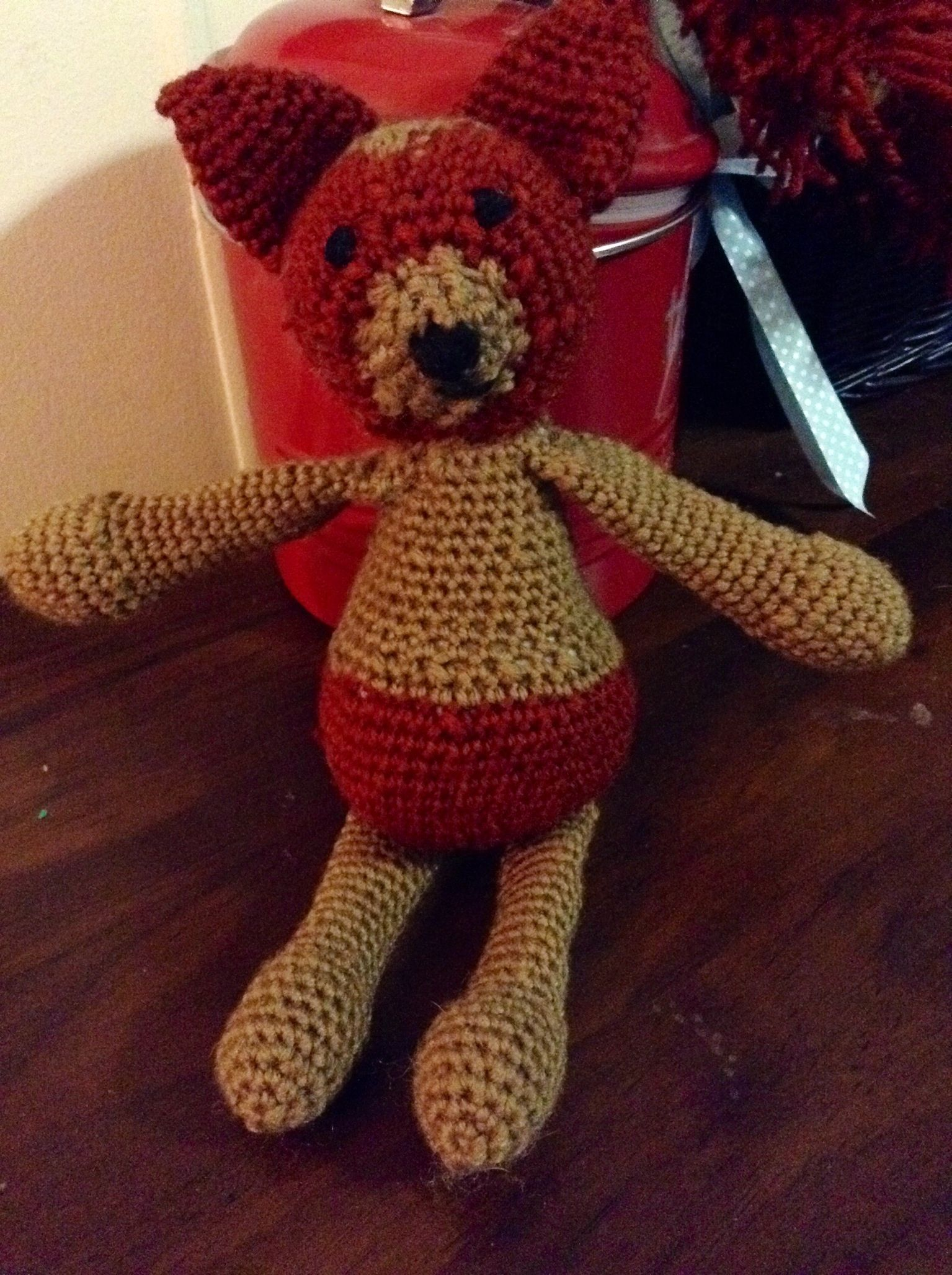 Timmy the Jack Russell dog Amigurumi from the pattern in Edward's Menagerie., done in acrylic.  #edsanimals