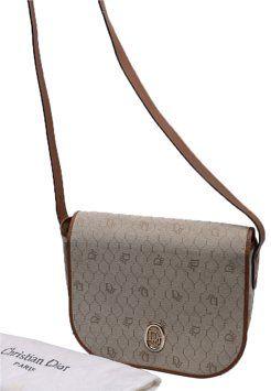 0684eb3714d9 GB1014210 Authentic Vintage Dior Monogram Brown Flap Over Crossbody Dior…