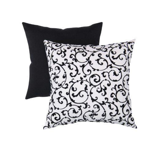Black n White Damask Throw Pillow
