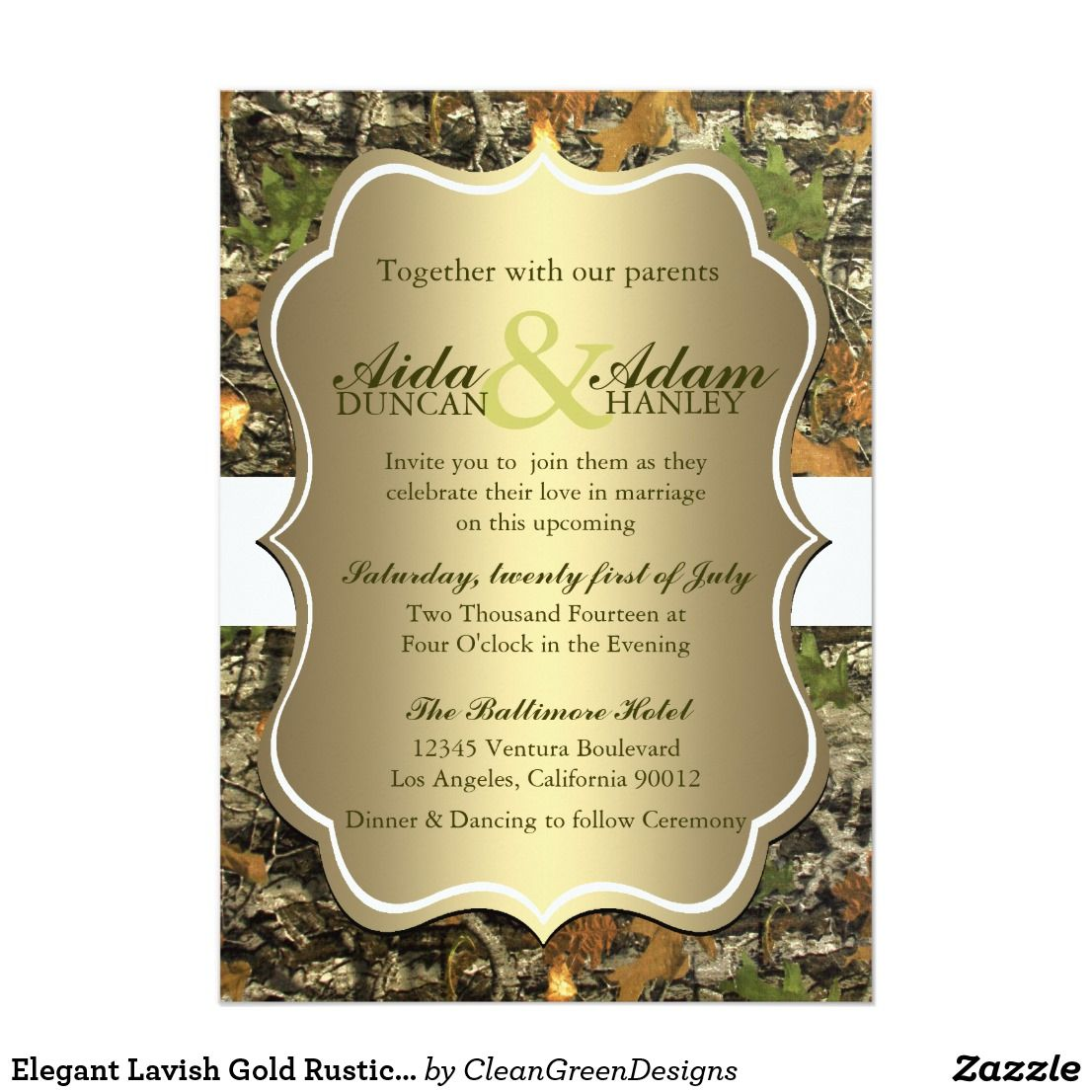 Classy Camo Wedding Ideas: Elegant Lavish Gold Rustic Camo Wedding Invitation