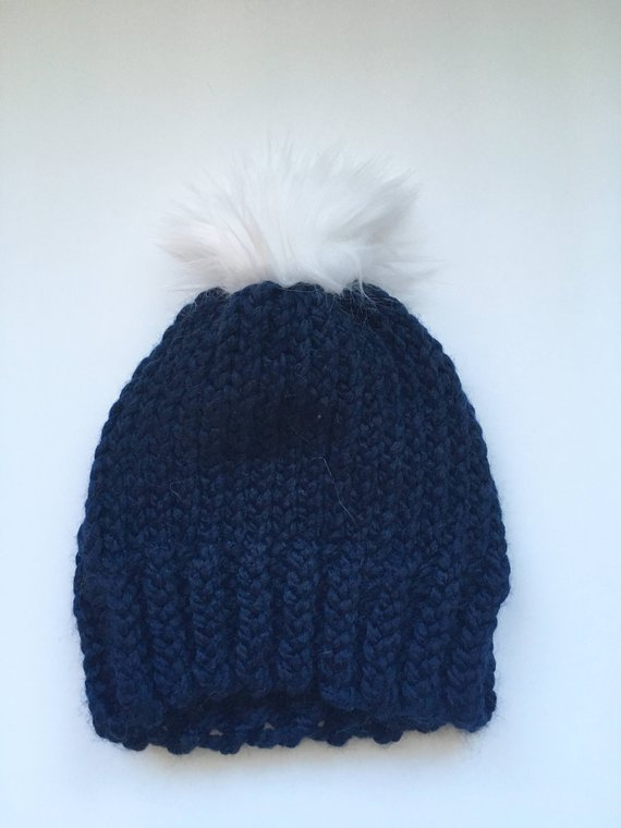 5b149888a0a Navy Toddler Hat with Faux Fur Pompom