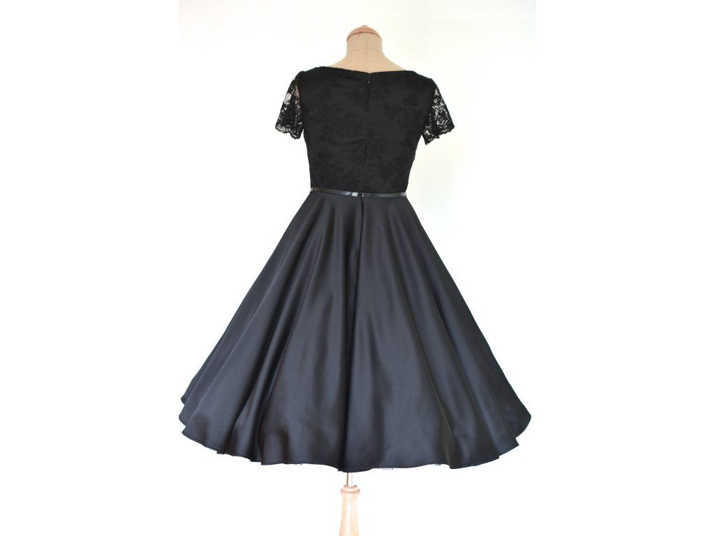 Černé retro šaty LOREN s krajkou - více barev. hlubší V výstřih protažený  na ramena krátké krajkové rukávky materiál je pevný matný satén a krajka  součástní ... 55164a69abb