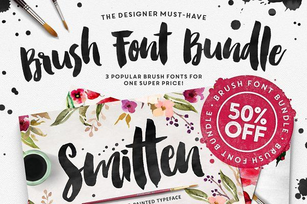 The Brush Font Bundle 50 Off Watercolor Script Fonts