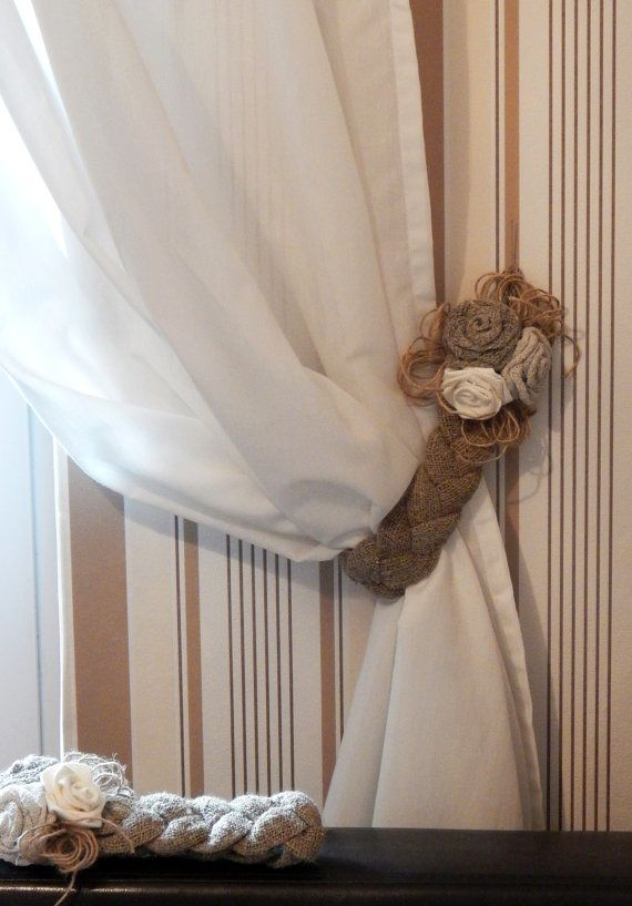 I Could Make This With Braided Rope Or Burlap Rustic Curtain Tie Backs Two Burlap Tie Backs Linen Curtain Tie Backs Burlap Curtains Rustic Curtains