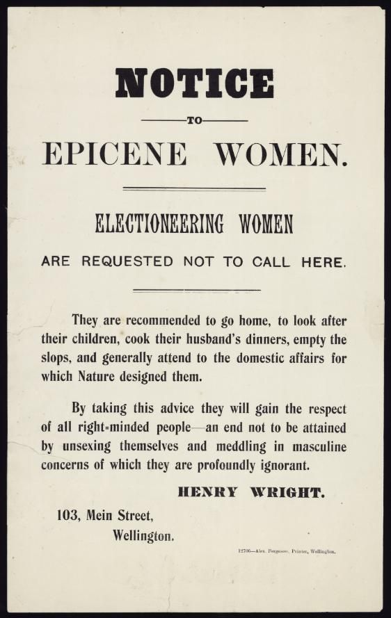 """Placard telling """"Electioneering Women"""" to go away ..."""