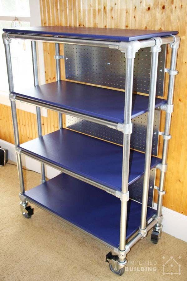 DIY Rolling Bookcase Pvc Pipe