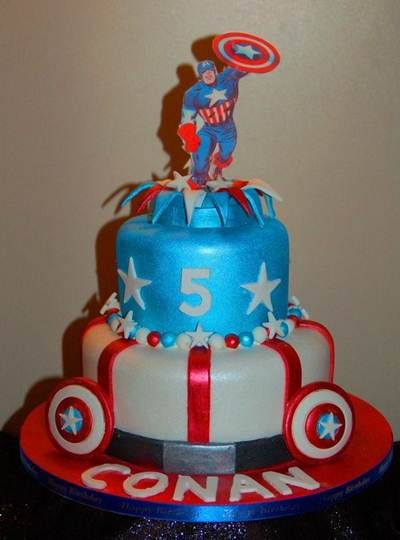 Captain America Birthday Cake Idea Lincoln 3rd Pinterest