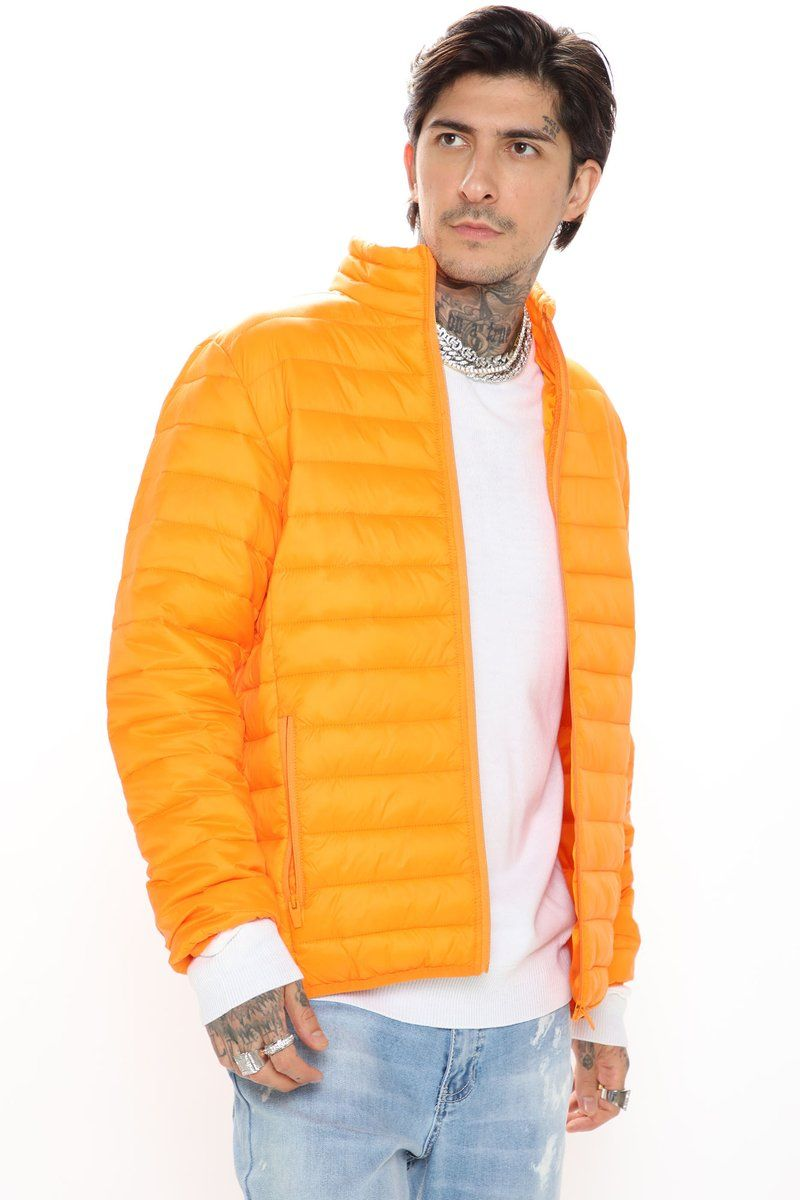 Wesley Packable Puffer Jacket Orange Jackets Men Fashion Puffer Jackets Packable Jacket [ 1200 x 800 Pixel ]